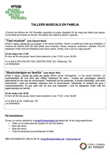 TALLERS FAMILIARS 2014
